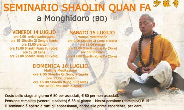 Seminario Shaolin Quan Fa a Monghidoro (BO) – 14,15,16 Luglio 2017