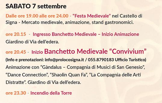 """Shaolin Quan Fa Firenze al Banchetto Medievale """"Convivium"""" – Sabato 7 settembre 2019 a Signa"""